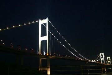 サンライズ糸山から見た来島海峡大橋の夜景